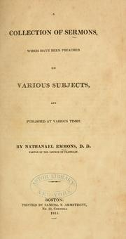 Cover of: A collection of sermons