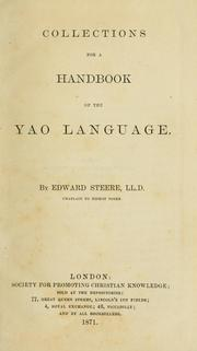 Cover of: Collections for a handbook of the Yao language
