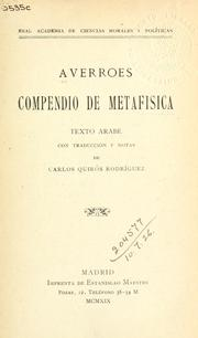 Cover of: Compendio de metafisica: texto arabe