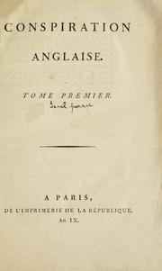 Cover of: Conspiration anglaise