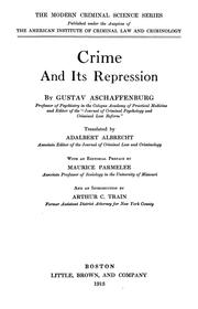 Cover of: Crime and its repression