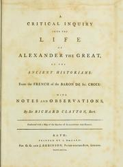 Cover of: A critical inquiry into the life of Alexander the Great