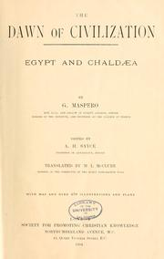 Cover of: DAWN of CIVILIZATION: Egypt and Chaldea