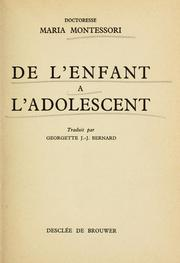 Cover of: De l' enfant a l'adolescent