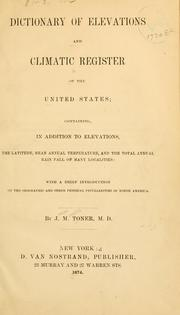 Cover of: Dictionary of elevations and climatic register of the United States