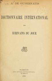 Cover of: Dictionnaire international des ecrivains du jour