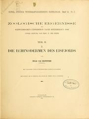 Cover of: Die Echinodermen des Eisfjords