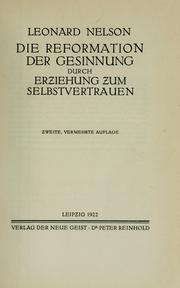 Cover of: Die Reformation der Gesinnung