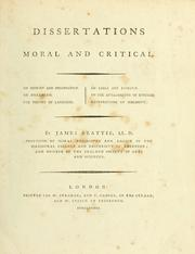 Cover of: Dissertations moral and critical