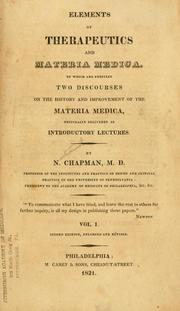 Cover of: Elements of therapeutics and materia medica
