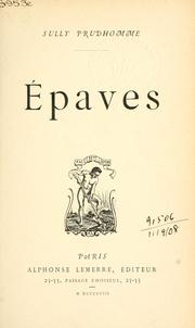 Cover of: Épaves