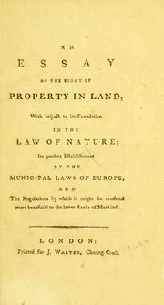 Cover of: An essay on the right of property in land