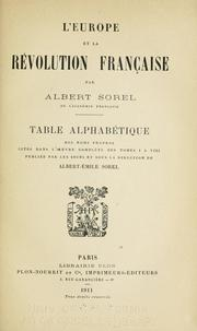 Cover of: L' Europe et la révolution francaise