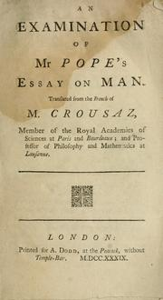 Cover of: An examination of Mr. Pope's Essay on man