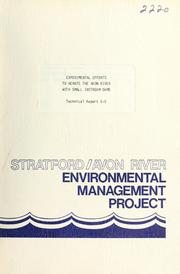 Cover of: EXPERIMENTAL EFFORTS TO AERATE THE AVON RIVER WITH SMALL INSTREAM DAMS