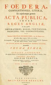 Cover of: Fœdera