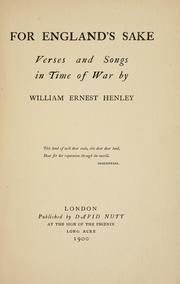 Cover of: For England's sake: verses and songs in time of war