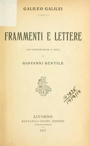 Cover of: Frammenti e lettere