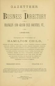 Cover of: Gazetteer and business directory of Franklin and Grand Isle counties,  Vt., for 1882-83