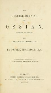 Cover of: The genuine remains of Ossian