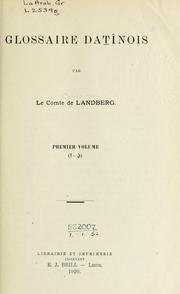 Cover of: Glossaire datînois