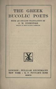 Cover of: The Greek bucolic poets