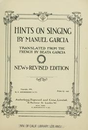 Cover of: Hints on singing