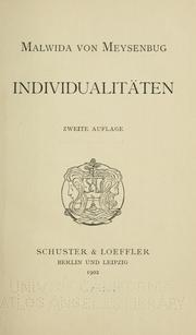 Cover of: Individualitäten
