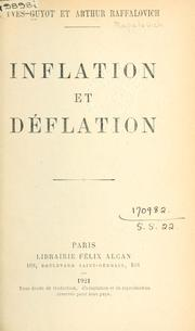 Cover of: Inflation et déflation