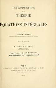 Cover of: Introduction à la théorie des équations intégrales