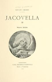 Cover of: Jacovella