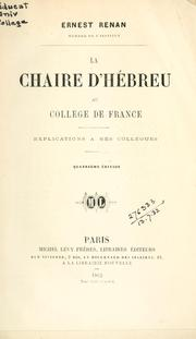 Cover of: La Chaire d'Hébreu au Collége de France