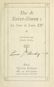 Cover of: La cour de Louis XIV