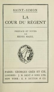 Cover of: La cour du régent