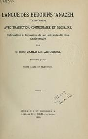 Cover of: Langue des Bédouins Anazeh