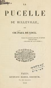 Cover of: La pucelle de Belleville