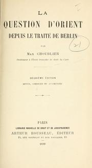 Cover of: La question d'Orient depuis le traité de Berlin