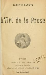 Cover of: L' art de la prose