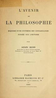 Cover of: L' avenir de la philosophie