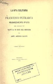 Cover of: De vita solitaria