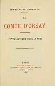 Cover of: Le comte d'Orsay