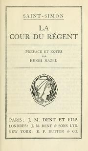 Cover of: Le cour de regènt