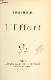 Cover of: L' effort