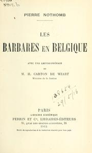 Cover of: Les barbares en Belgique