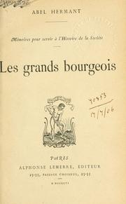 Cover of: Les grands bourgeois