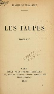 Cover of: Les taupes, roman