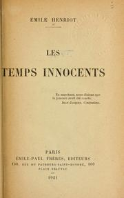 Cover of: Les temps innocents