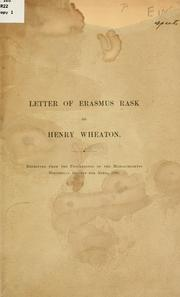Cover of: Letter of Erasmus Rask to Henry Wheaton