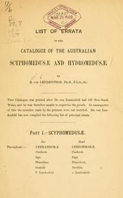 Cover of: List of errrata in the catalogue of the Australian Scyphomedusæ and Hydromedusæ