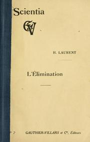 Cover of: L' élimination